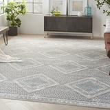 Industrial Lodge Home Alward Geometric Gray/Blue Area Rug Polyester/Polypropylene in Blue/Brown, Size 168.0 H x 120.0 W x 0.32 D in | Wayfair