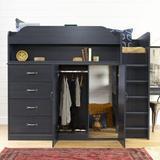 Arlen Twin 5 Drawer Loft Bed w/ Bookcase by South Shore Wood in Black/Brown, Size 47.0 W x 76.75 D in   Wayfair 13707
