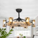 """Loon Peak® 34"""" Ginder 3 - Blade Caged Ceiling Fan w/ Remote Control & Light Kit Included in Brown, Size 9.45 H x 33.86 W x 33.86 D in   Wayfair"""