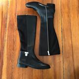 Michael Kors Shoes | Michael Kors Knee High Black Leather Boots | Color: Black/Silver | Size: 7.5