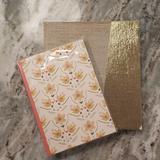 Anthropologie Office | Anthropologie Gold Floral Notebook Journal Set | Color: Gold/Orange | Size: Os