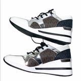 Michael Kors Shoes | Michael Kors Liv Logo Mixed-Media Wedge Sneaker | Color: Brown/White | Size: 10