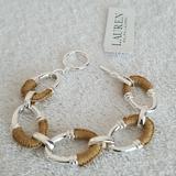 Ralph Lauren Jewelry   New Ralph Lauren Raffia-Wrapped Oval Link Bracelet   Color: Silver/Tan   Size: 7.50