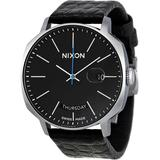 Black Dial Leather Watch - Black - Nixon Watches