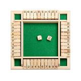 Shut The Box Dice Game,Classic 4 Sided Wooden Board Game with Dice and Instructions for Kids Adults, Tabletop Toy and Pub Board Game for Learning Numbers,Strategy Risk,2-4 Players (Green)