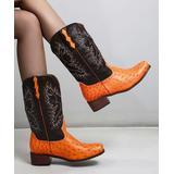 BUTITI Women's Casual boots ORANGE - Orange & Black Ostrich-Look Embossed Cowboy Boot - Women