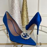 Gucci Shoes | Gucci Gg Pointy Toe Pump Satin Crystal Logo Sz 36 | Color: Blue/Silver | Size: 5.5