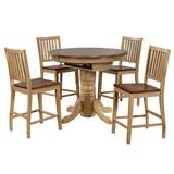 Sunset Trading Brook 5 Piece Round or Oval Butterfly Leaf Pub Table Set With Slat Back Stools - Sunset Trading DLU-BR4260CB-B60-PW5PC