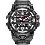 MASTOPMen's Digital Analog Watch 50M Waterproof Large Dual Dial Multifunction Analog Military Outdoor Sports Electronic Watch Calendar Day Date Tactical Watch (Black Silver)