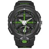 MASTOPMen's Watches Sports Outdoor 50M Waterproof Military Watch Date Multiple Function Tactics LED Alarm Stopwatch Dual Display Analog Army Wristwatch Black Dial Watch (Army Green)