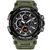 MASTOPMen's Digital Outdoor Watch Tactical Military Survival Watch Sport Multifunction Dual Display LED Stopwatch Army Watch 50m Waterproof Large Face Electronic Analog Watches (Army Green)