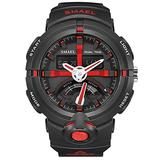 MASTOPMen's Watches Sports Outdoor 50M Waterproof Military Watch Date Multiple Function Tactics LED Alarm Stopwatch Dual Display Analog Army Wristwatch Black Dial Watch (Black red)
