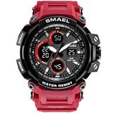 MASTOPMen's Digital Outdoor Watch Tactical Military Survival Watch Sport Multifunction Dual Display LED Stopwatch Army Watch 50m Waterproof Large Face Electronic Analog Watches (red)