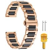 21mm Watch Band Metal Mens Watch Metal Band Watch Black Metal Band Deluxe Solid Ceramic Watch Band Band Bracelet Belts 316L Stainless Steel in Two Tone Rose Gold and Black Polished Buckle