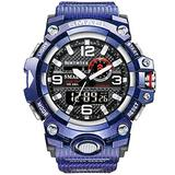 MASTOPMen's Digital Analog Watch 50M Waterproof Large Dual Dial Multifunction Analog Military Outdoor Sports Electronic Watch Calendar Day Date Tactical Watch (Purple)