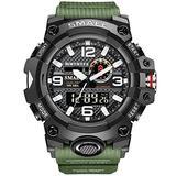 MASTOPMen's Digital Analog Watch 50M Waterproof Large Dual Dial Multifunction Analog Military Outdoor Sports Electronic Watch Calendar Day Date Tactical Watch (Army Green)