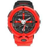 MASTOPMen's Watches Sports Outdoor 50M Waterproof Military Watch Date Multiple Function Tactics LED Alarm Stopwatch Dual Display Analog Army Wristwatch Black Dial Watch (red)