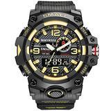 MASTOPMen's Digital Analog Watch 50M Waterproof Large Dual Dial Multifunction Analog Military Outdoor Sports Electronic Watch Calendar Day Date Tactical Watch (Black Gold)