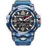 MASTOPMen's Digital Analog Watch 50M Waterproof Large Dual Dial Multifunction Analog Military Outdoor Sports Electronic Watch Calendar Day Date Tactical Watch (Light Blue)