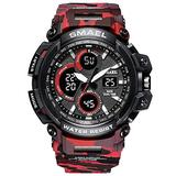 MASTOPMen's Digital Outdoor Watch Tactical Military Survival Watch Sport Multifunction Dual Display LED Stopwatch Army Watch 50m Waterproof Large Face Electronic Analog Watches (Camouflage red)