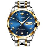 Swiss Brand Mens Automatic Watch Business Dress Luxury Wristwatch Mechanical Self Winding Movement Sapphire Crystal Blue Face Day Date Display Tungsten Steel Waterproof Luminous Gifts