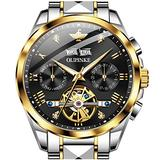 Automatic Mens Watch Gold and Black Self Winding Watch Man Stainless Steel Day Date Mechanical Watches Men Skeleton Waterproof Big Diver Mens Swiss Watch No Battery Luminous Two Tone Men Dress Watch