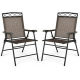 Costway Set of 2 Patio Folding Chairs Sling Portable Dining Chair Set with Armrest