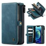 """WintMing Compatible with iPhone 12 6.1"""" Wallet Case 17 Card Holder Flip Leather Case Magnetic Detchable Multi-Function Money Purse Protective Cover for 12 Pro 5g (Lake-Blue, 12(6.1"""")/12 Pro(6.1""""))"""