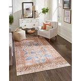 Unique Loom Revival Collection Traditional Medallion Border Blue/Brown Area Rug (3' 6 x 5' 6)