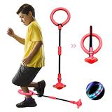QMOEH Skip It Ball, Foldable Skip It Ankle Skipit Toy with Backpack, Colorful Flash Skip It Toy for Fitness (Red)