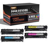 4-Pack (1BK+1C+1Y+1M) Compatible 304A   CC530A CC531A CC532A CC533A Remanufactured Toner Cartridge Replacement for HP HP Color Laserjet CP2025(CB493A) CP2025n(CB494A) CP2025dn(CB495A) Printer Toner
