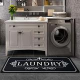 Laundry Rug Black Rug Vintage Laundry Runner Rug Laundry Floor Mat Durable Washhouse Mat Crown Printed Rug Non-Slip Rubber Backed Rugs 20x48
