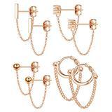 YADOCA 4 pairs Copper Chain Stud Earrings Set for Women CZ Dangle Earrings Ball Stud Earring Bar Stud Earrings Huggie Hoop Piercing Earrings Stainless Steel Ear Pins Rose Gold
