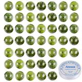Abesee 6mm 100PCS Natural Canadian Nephrite Jade Loose Gemstone Round Beads Jewelry Making Supplies, AAA Grade Semi Precious Stone DIY Craft with Crystal Stretch Roll Crystal Stretch Roll