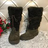 J. Crew Shoes | J.Crew Lace Up Shearling Lined Suede Boots Sz 7 | Color: Brown/Green | Size: 7