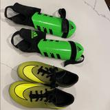 Nike Shoes   Nike Kids Soccer Shoes And Adidas Shin Guards   Color: Green   Size: 2.5b