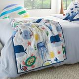 Zoomie Kids Freshour 100% Cotton Throw Cotton in Blue/White/Yellow, Size 48.0 H x 36.0 W in   Wayfair 277F338F326C4CB68992F00AF885B7A8