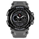MASTOPMen's Analog Digital Sport Watch, 50m Waterproof LED Stopwatch Digital Analog Dual Time Outdoor Army Wristwatch Tactical Large Dial Calendar Wrist Watch (Gray)