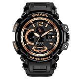 MASTOPMen's Analog Digital Sport Watch, 50m Waterproof LED Stopwatch Digital Analog Dual Time Outdoor Army Wristwatch Tactical Large Dial Calendar Wrist Watch (Black Gold)