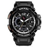 MASTOPMen's Analog Digital Sport Watch, 50m Waterproof LED Stopwatch Digital Analog Dual Time Outdoor Army Wristwatch Tactical Large Dial Calendar Wrist Watch (Black Silver)