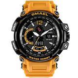 MASTOPMen's Analog Digital Sport Watch, 50m Waterproof LED Stopwatch Digital Analog Dual Time Outdoor Army Wristwatch Tactical Large Dial Calendar Wrist Watch (Orange)