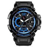MASTOPMen's Analog Digital Sport Watch, 50m Waterproof LED Stopwatch Digital Analog Dual Time Outdoor Army Wristwatch Tactical Large Dial Calendar Wrist Watch (Black Blue)