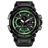 MASTOPMen's Analog Digital Sport Watch, 50m Waterproof LED Stopwatch Digital Analog Dual Time Outdoor Army Wristwatch Tactical Large Dial Calendar Wrist Watch (Black Green)