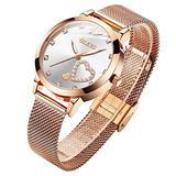 Rose Gold Watches for Women Japanese Quartz Movement Fashion Heart Design Ladies Watches Big White Dial Gold Women Watches Waterproof Mesh Belt Lady Wristwatches Dress Luminous Women OLEVS Watches