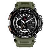 MASTOPMen's Analog Digital Sport Watch, 50m Waterproof LED Stopwatch Digital Analog Dual Time Outdoor Army Wristwatch Tactical Large Dial Calendar Wrist Watch (Army Green)