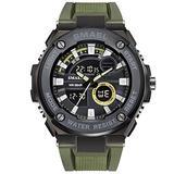 MASTOPMen's Digital Analog Sports Quartz Watch Dual Time Outdoor Army Wristwatch LED 50m Waterproof Luminous Stopwatch Alarm Multi-Functions Wrist Watch (Army Green)
