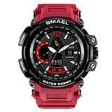 MASTOPMen's Analog Digital Sport Watch, 50m Waterproof LED Stopwatch Digital Analog Dual Time Outdoor Army Wristwatch Tactical Large Dial Calendar Wrist Watch (red)