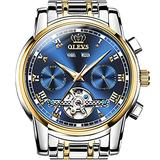 Self Winding Watches for Men Automatic Watch Blue Dial Sliver Gold Stainless Steel Tourbillon Watches Men Swiss Made Skeleton Watches Day-Date Waterproof Luminous Men Watches OLEVS Wristwatches.