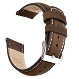 Ritche 18mm Leather Watch Band Quick Release Watch Bands for Men Women Compatible with Timex Expedition Fossil Seiko Saddle Brown Watch Strap White Stitching
