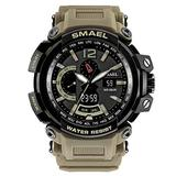 MASTOPMen's Analog Digital Sport Watch, 50m Waterproof LED Stopwatch Digital Analog Dual Time Outdoor Army Wristwatch Tactical Large Dial Calendar Wrist Watch (Khaki)